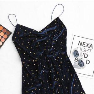 stars side slit velvet dress S